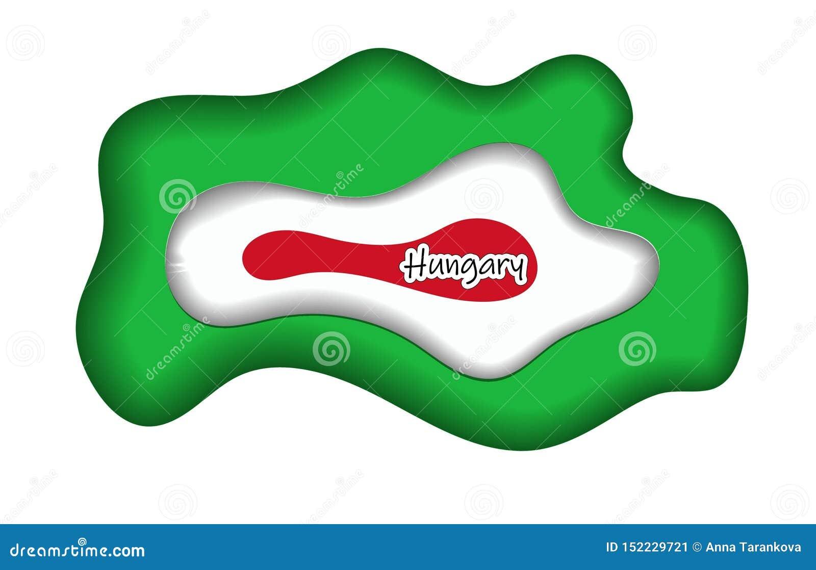 Símbolo de Hungria, cartaz, bandeira Mapa de Hungria com a decoração da bandeira nacional O emblema de Hungria com o nacional