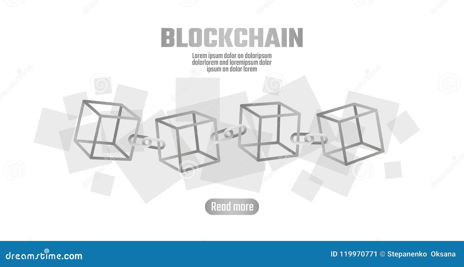 Símbolo De La Cadena Del Cubo De Blockchain En La Información Grande ...