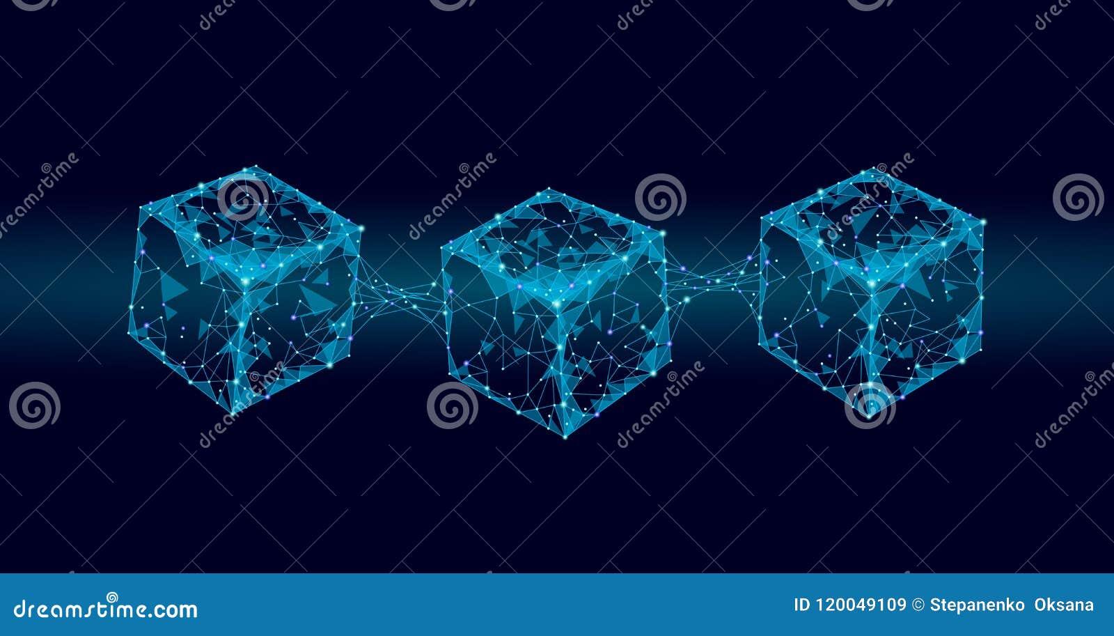 Símbolo de la cadena del cubo de Blockchain en la información grande del flujo de datos del código cuadrado Tendencia moderna que