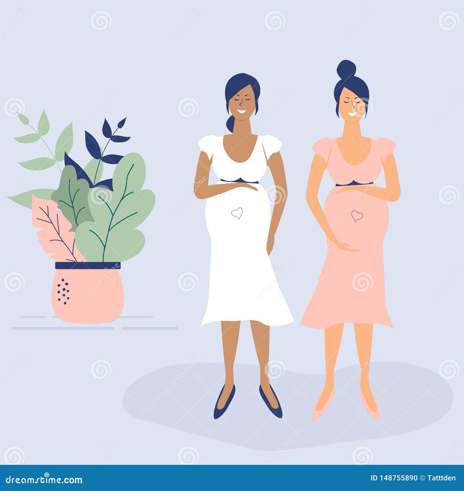 S?mbolo de la diversidad: muchachas embarazadas blancos y negros lindas Figuras enrrolladas planas estilo Hojas, lunares y coraz?
