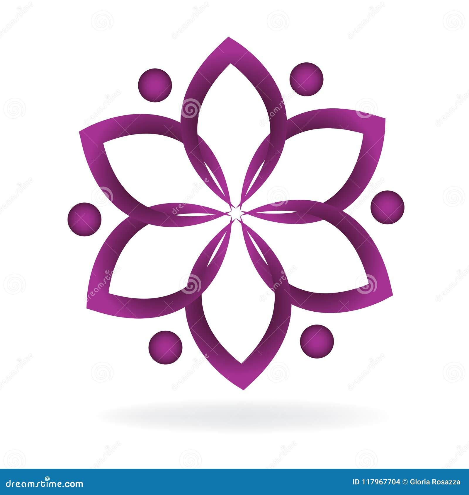 Símbolo De La Flor De Loto Del Trabajo En Equipo Del Logotipo Del