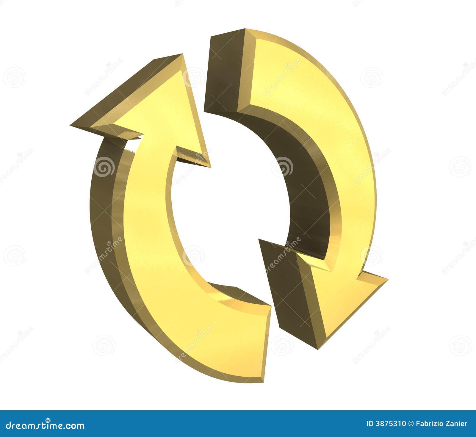 Símbolo de las flechas en el oro - 3D