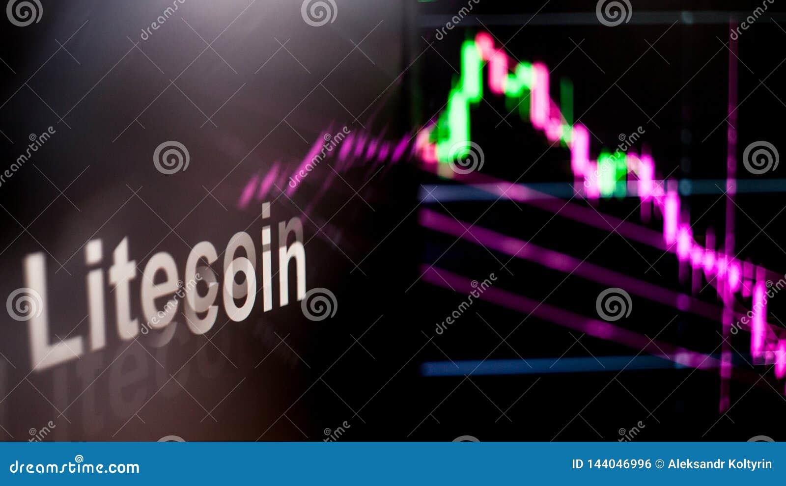 Símbolo de Litecoin Cryptocurrency El comportamiento de los intercambios del cryptocurrency, concepto Tecnologías financieras mod