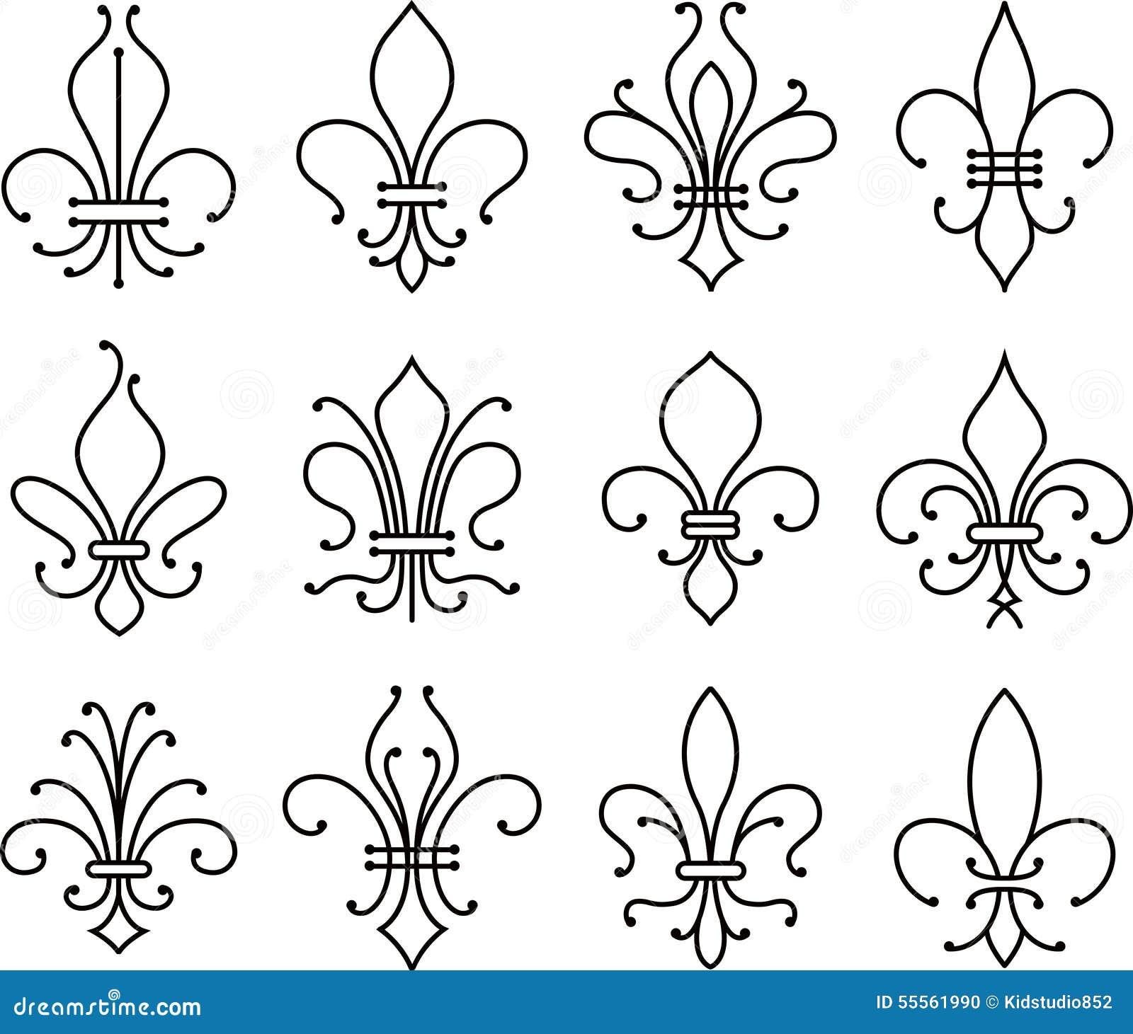 Símbolo De Los Elementos De La Voluta De La Flor De Lis Ilustración