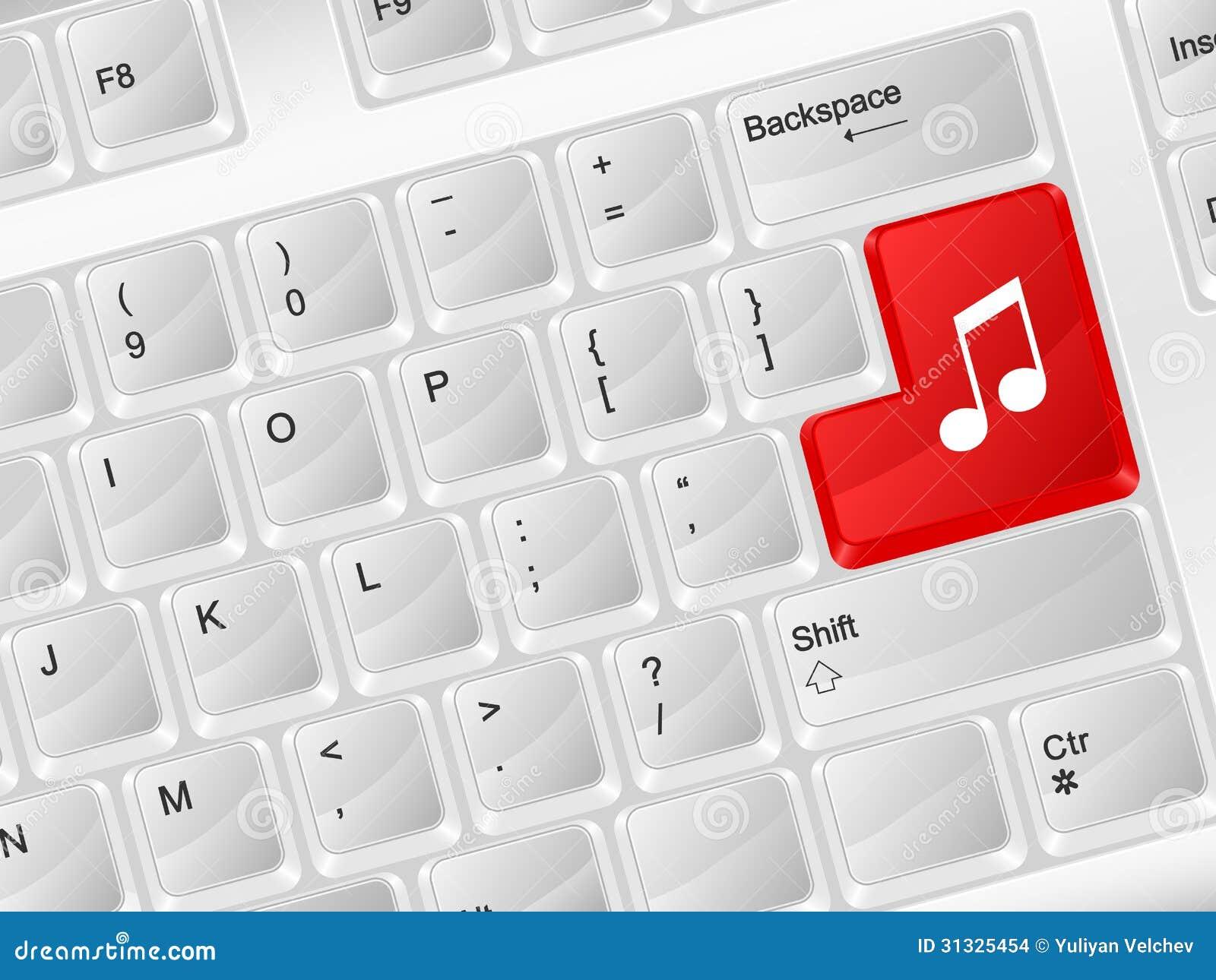 Símbolo De Música Do Teclado De Computador Ilustração Do Vetor