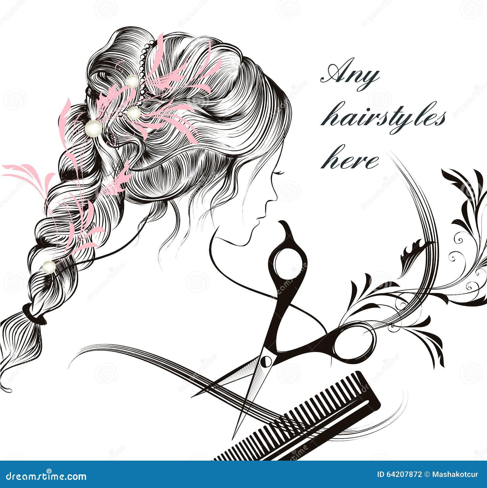 Símbolo de pelo largo joven hermoso del peine y de las tijeras de la muchacha de la ha