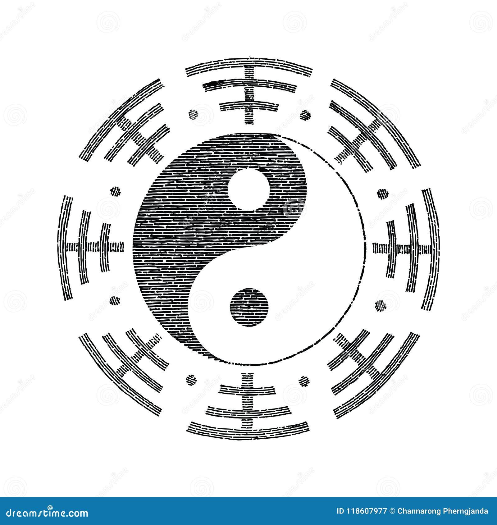 Símbolo De Yin Yang Para El Vintage Del Dibujo De La Mano Del
