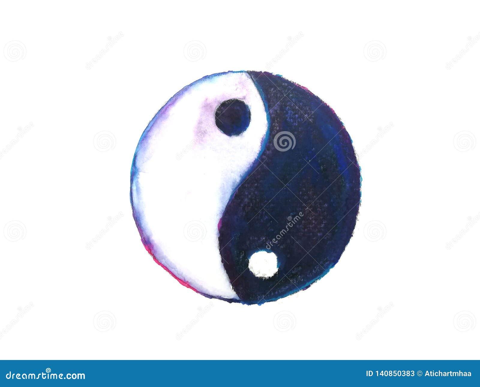 Símbolo de Ying yang aislado en el fondo blanco Mano drenada