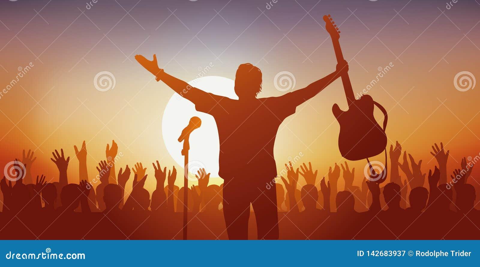 Símbolo del ídolo, con un cantante de roca saludando a sus fans