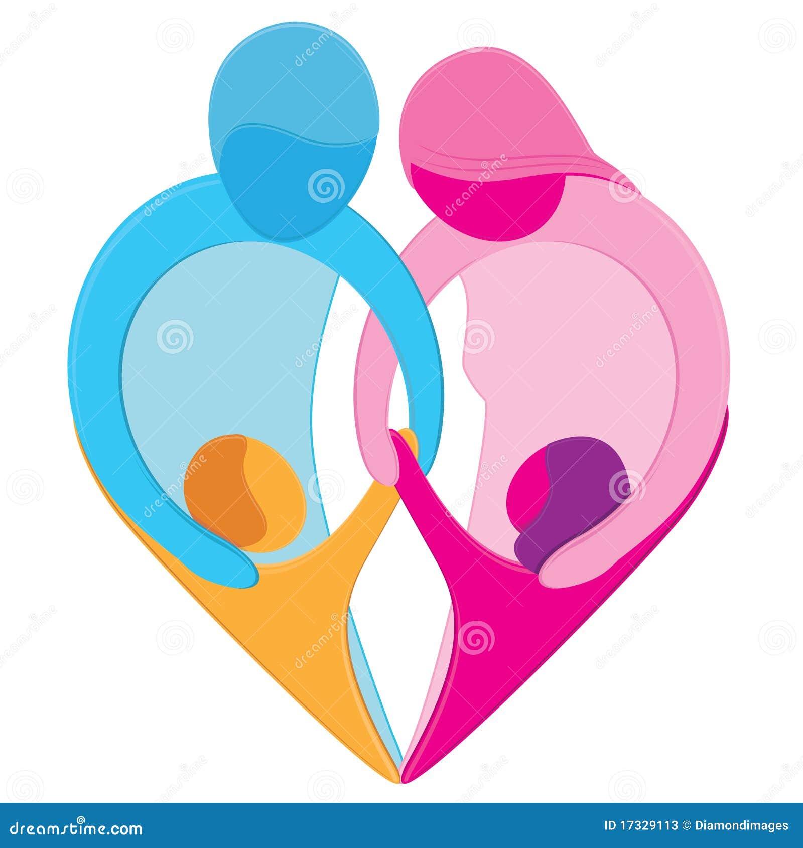 Símbolo Del Corazón Del Amor De La Familia Ilustración Del Vector