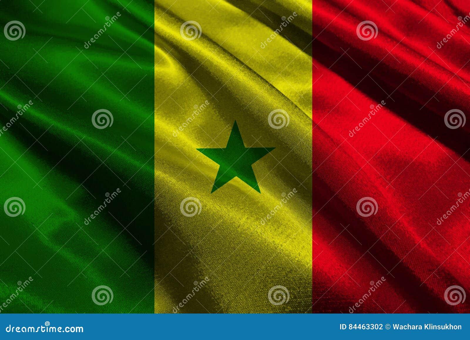 Símbolo Del Ejemplo De La Bandera Nacional 3d De Senegal