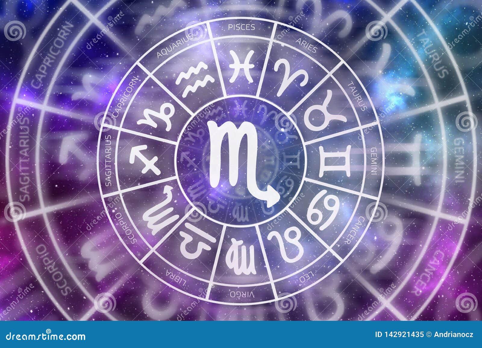 Símbolo del escorpión del zodiaco dentro del círculo del horóscopo