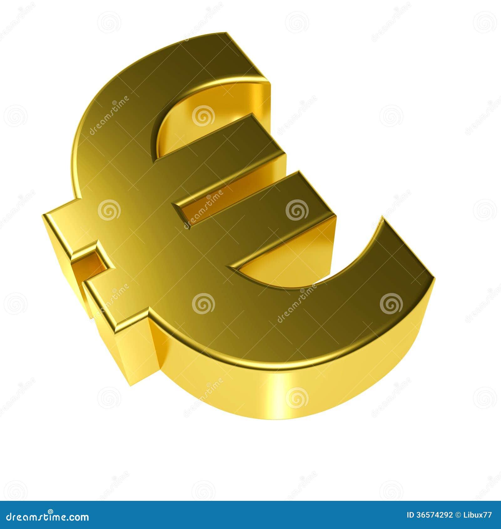 Símbolo del euro del oro 3d