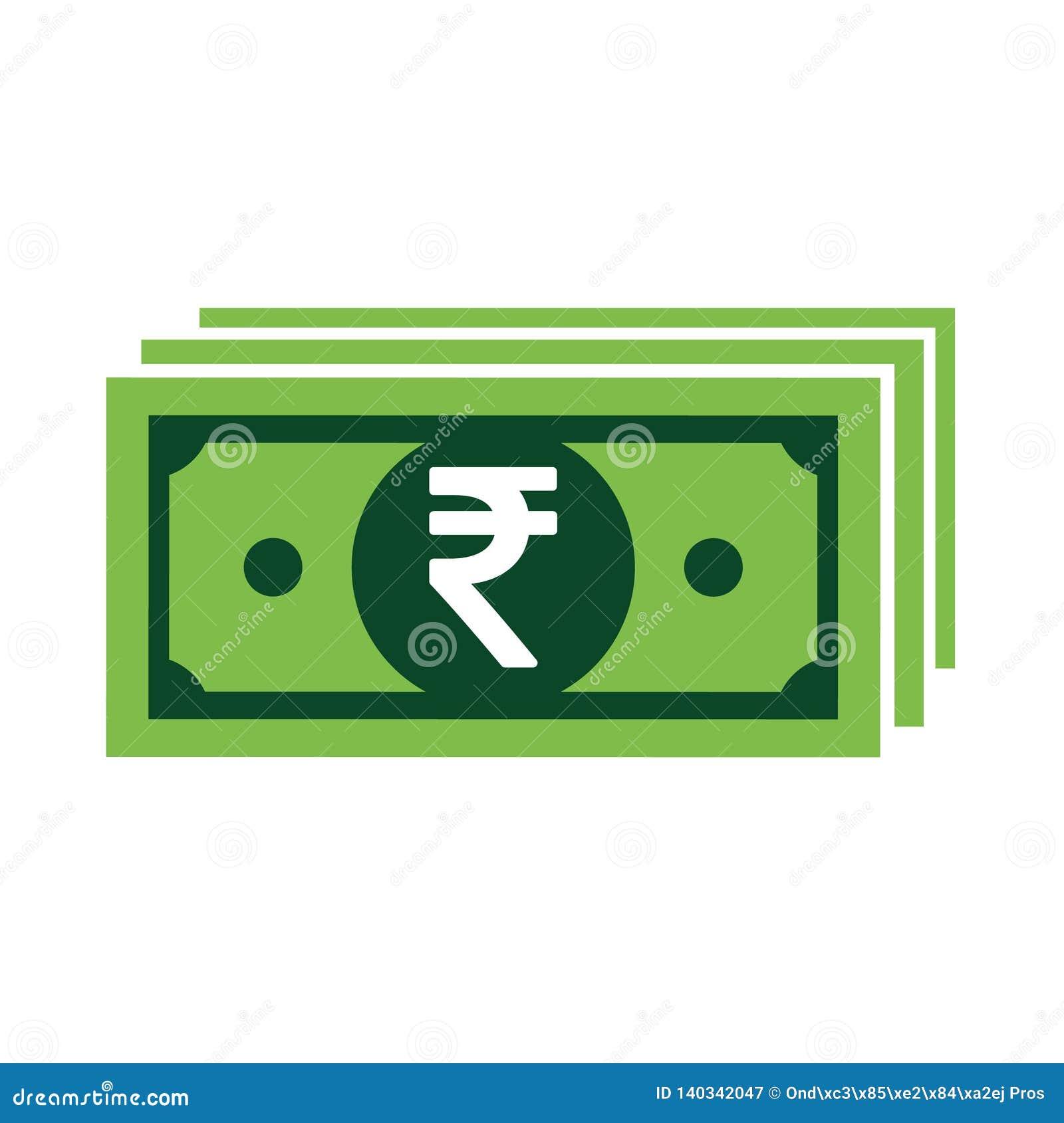 Símbolo del icono de la rupia india aislado en el fondo blanco Ejemplo del dinero del vector