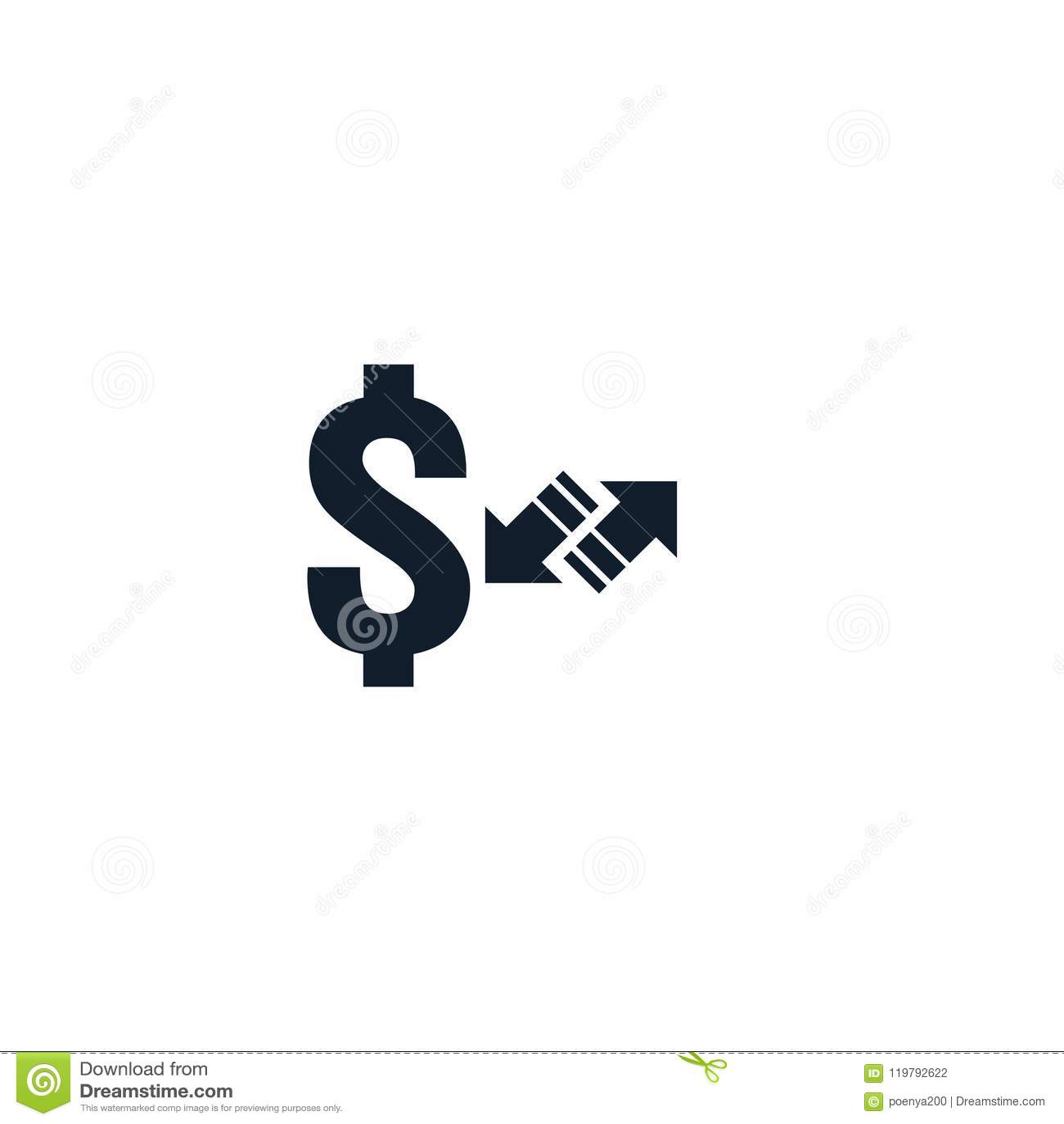 Símbolo del icono de la transferencia monetaria el intercambio de moneda, servicio de inversión financiera, reembolso de la devol