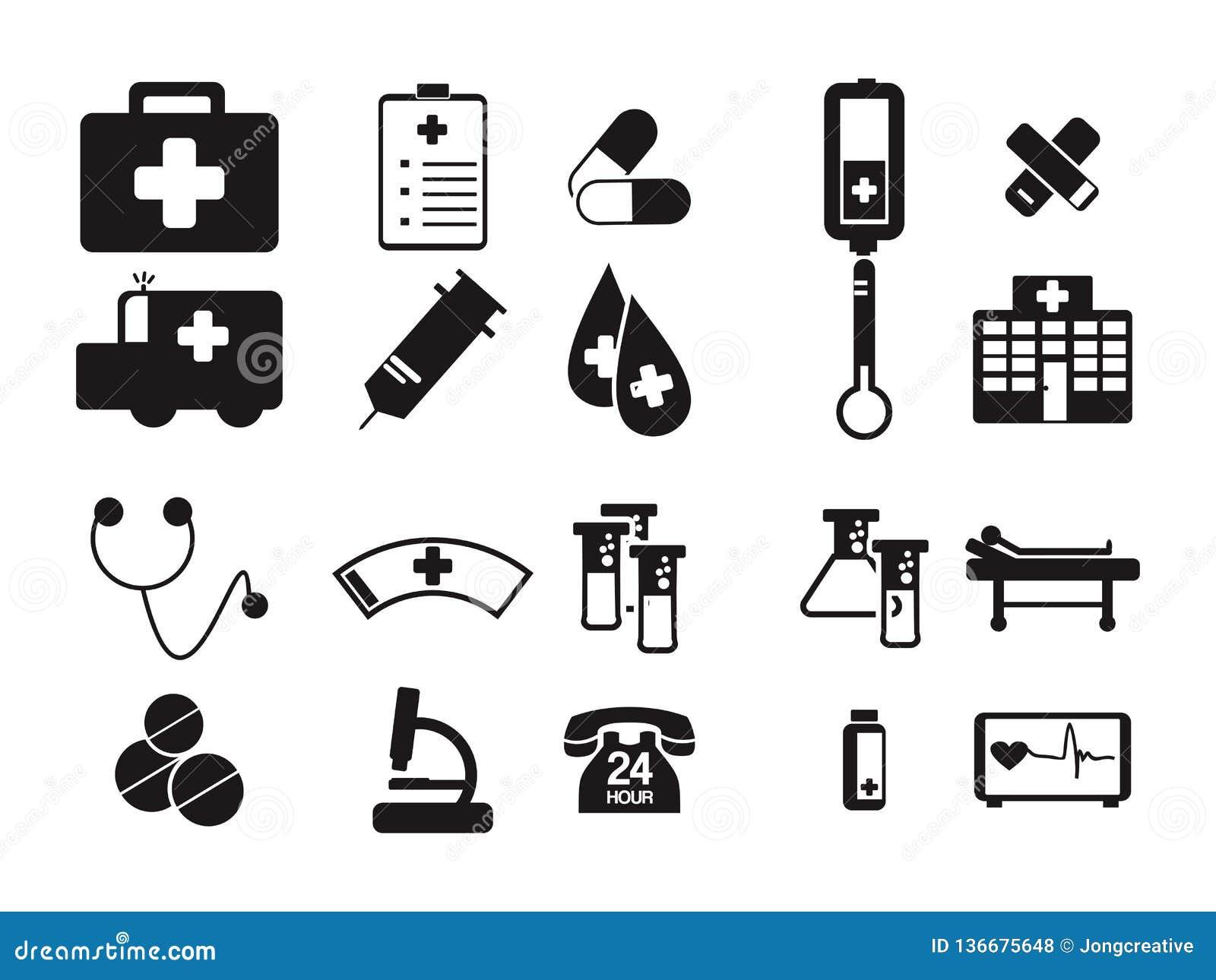Símbolo del icono del negro de la herramienta del doctor Medical Hospital Equipment