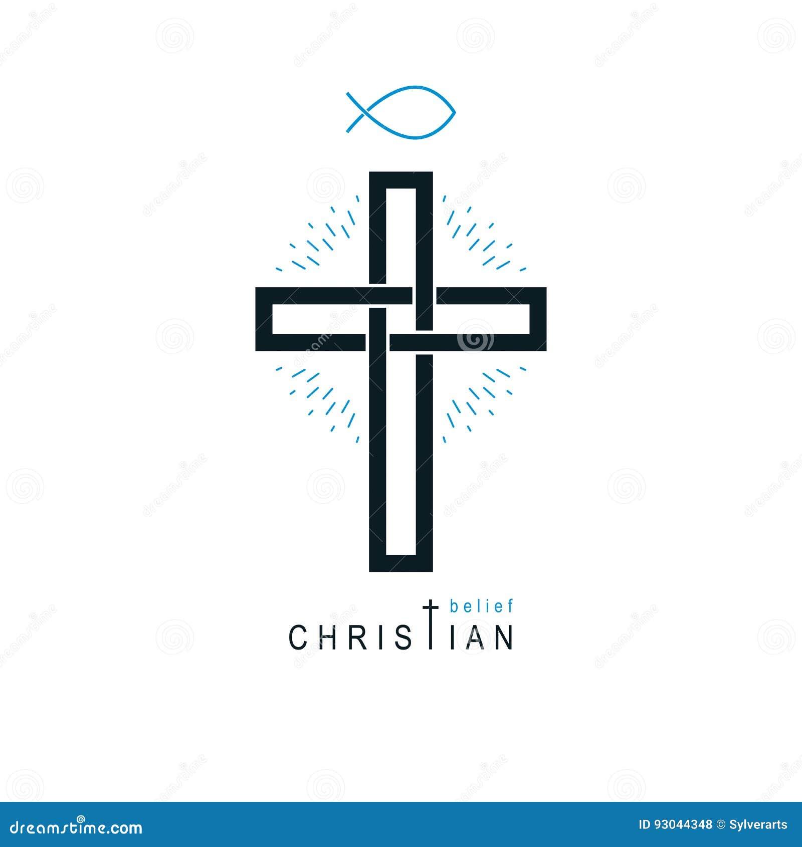 Símbolo del vector de Christian Cross, icono de la religión de dios del cristianismo