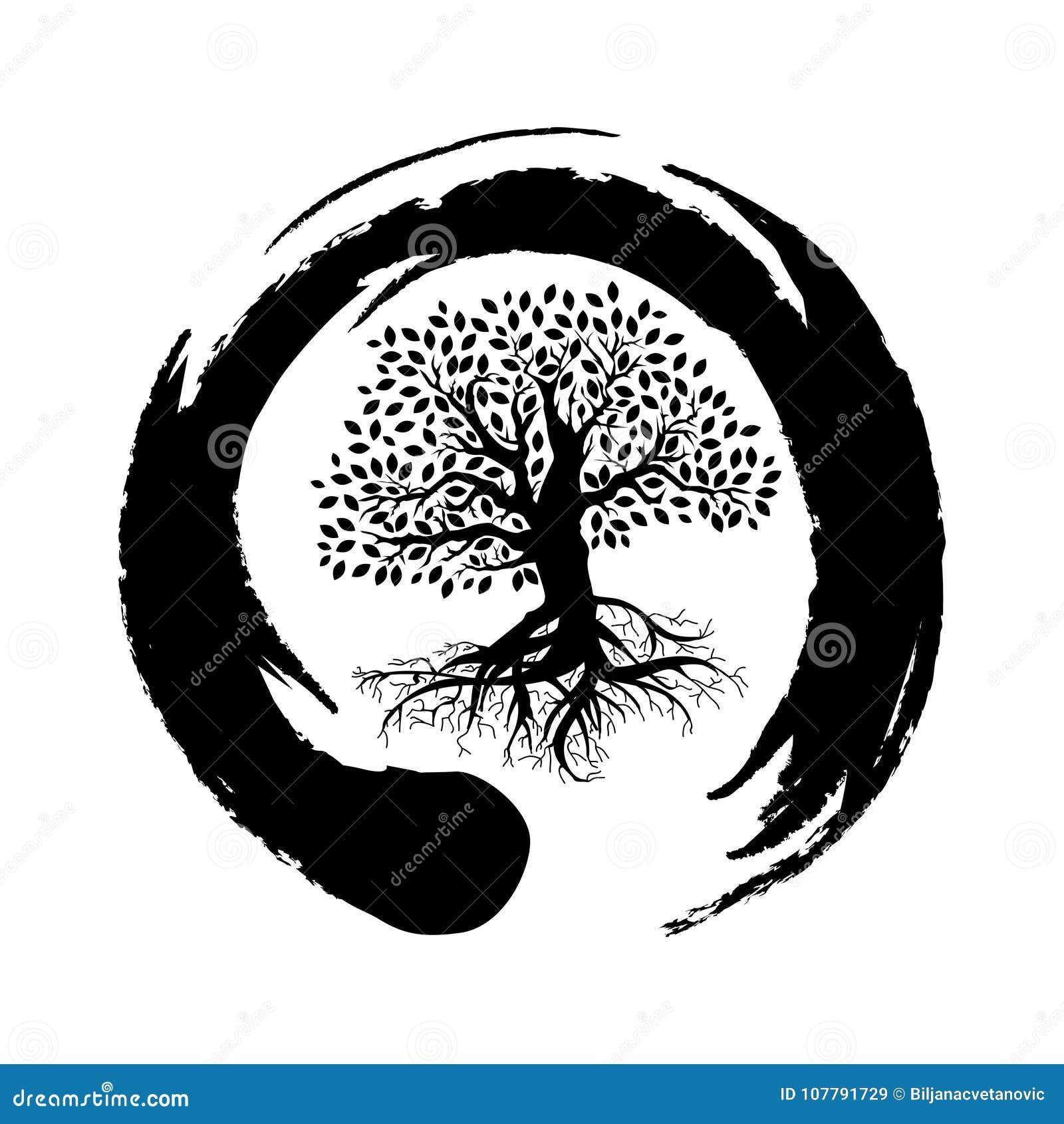Símbolo Del Zen Y árbol De La Vida Ilustración Del Vector