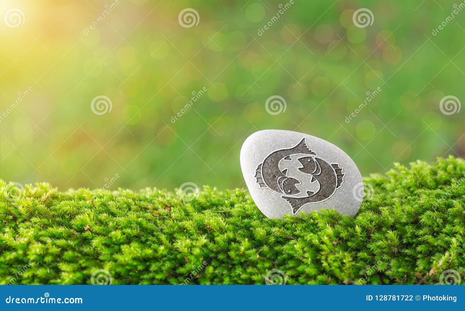 Símbolo del zodiaco de Piscis en piedra