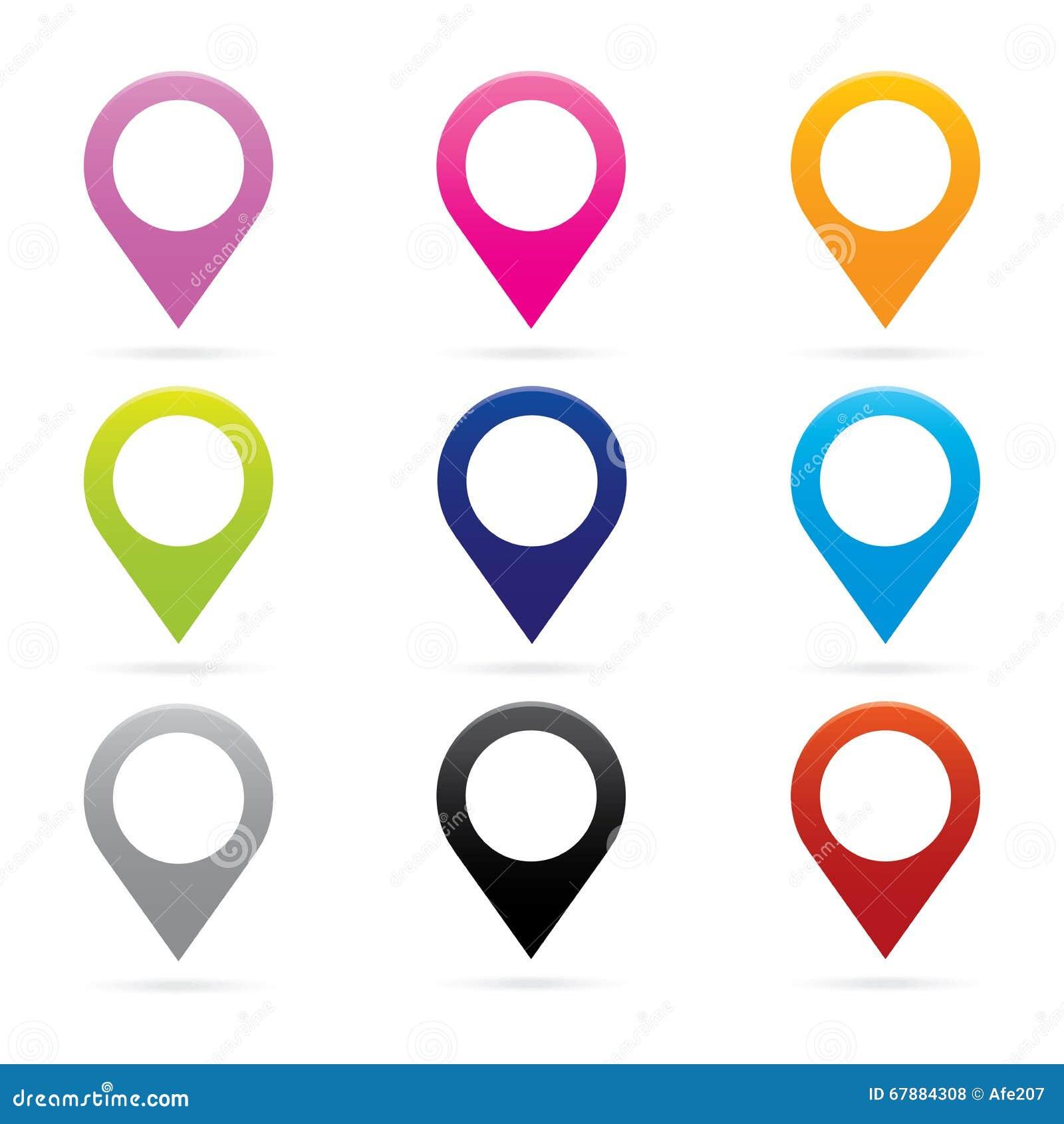 Símbolo determinado de la bandera de la ubicación de GPS del marcador del icono del indicador del mapa
