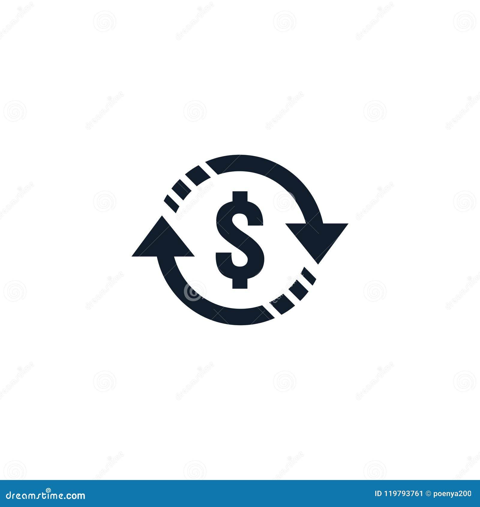 Símbolo do ícone de transferência de dinheiro a troca de moeda, serviço de investimento financeiro, reembolso traseiro do dinheir