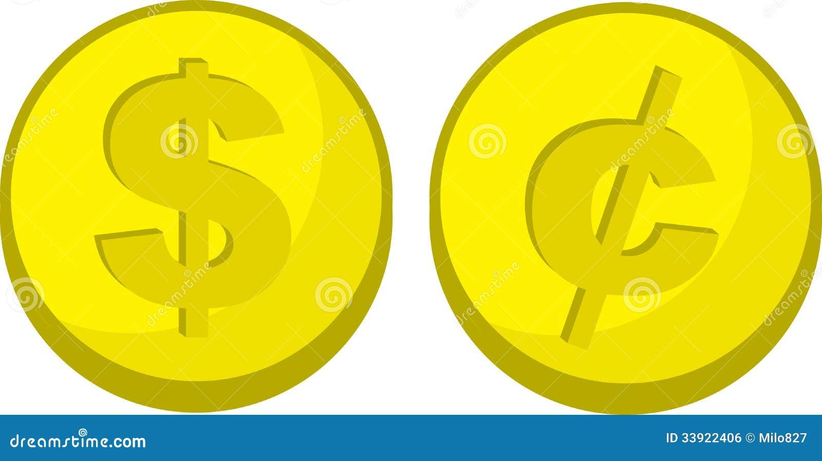 Símbolo do centavo do dólar das moedas