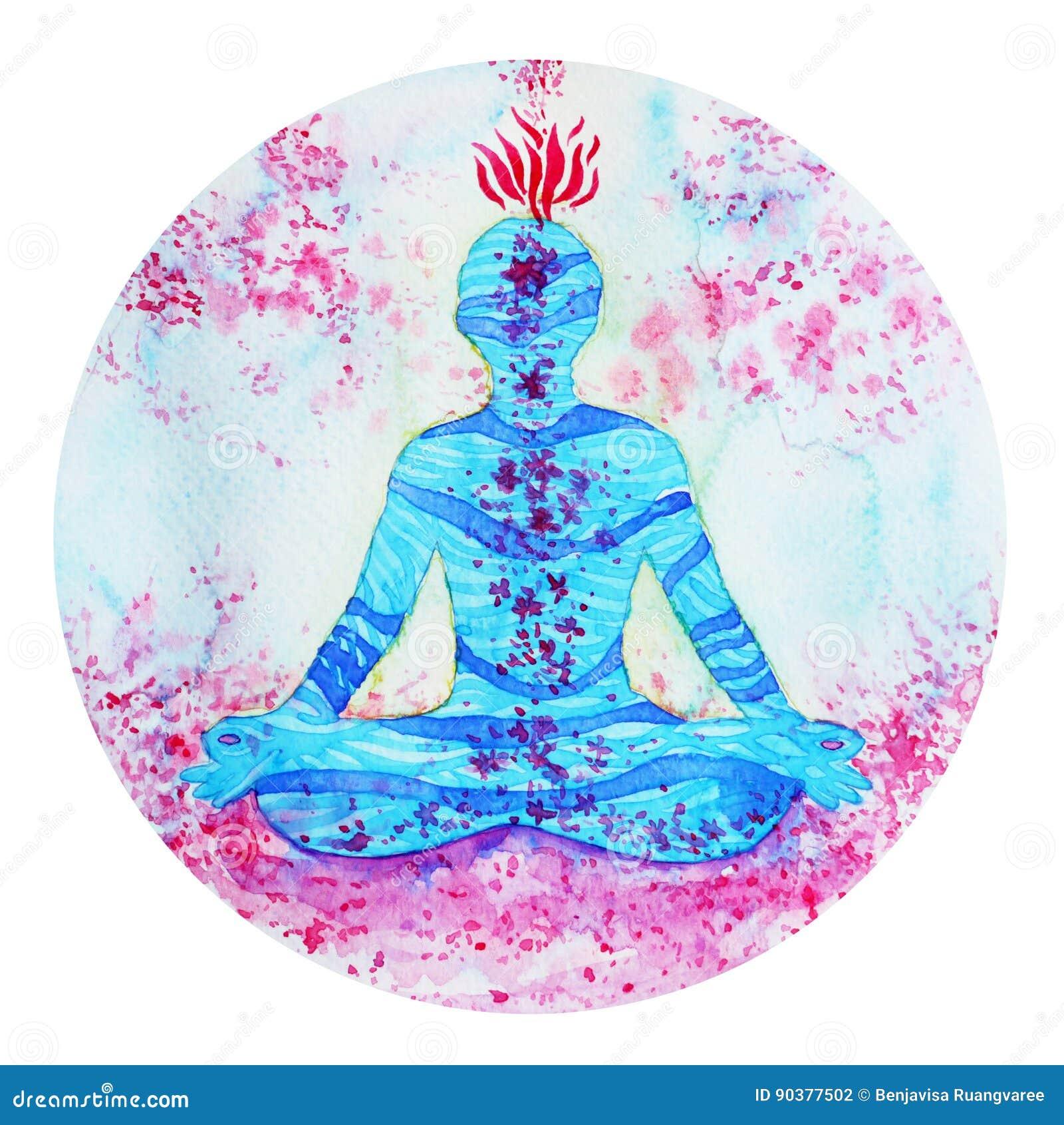 00517e1a41dbb Símbolo do chakra da ioga da pose de Lotus no fundo floral da pintura da  aquarela da flor natural da natureza
