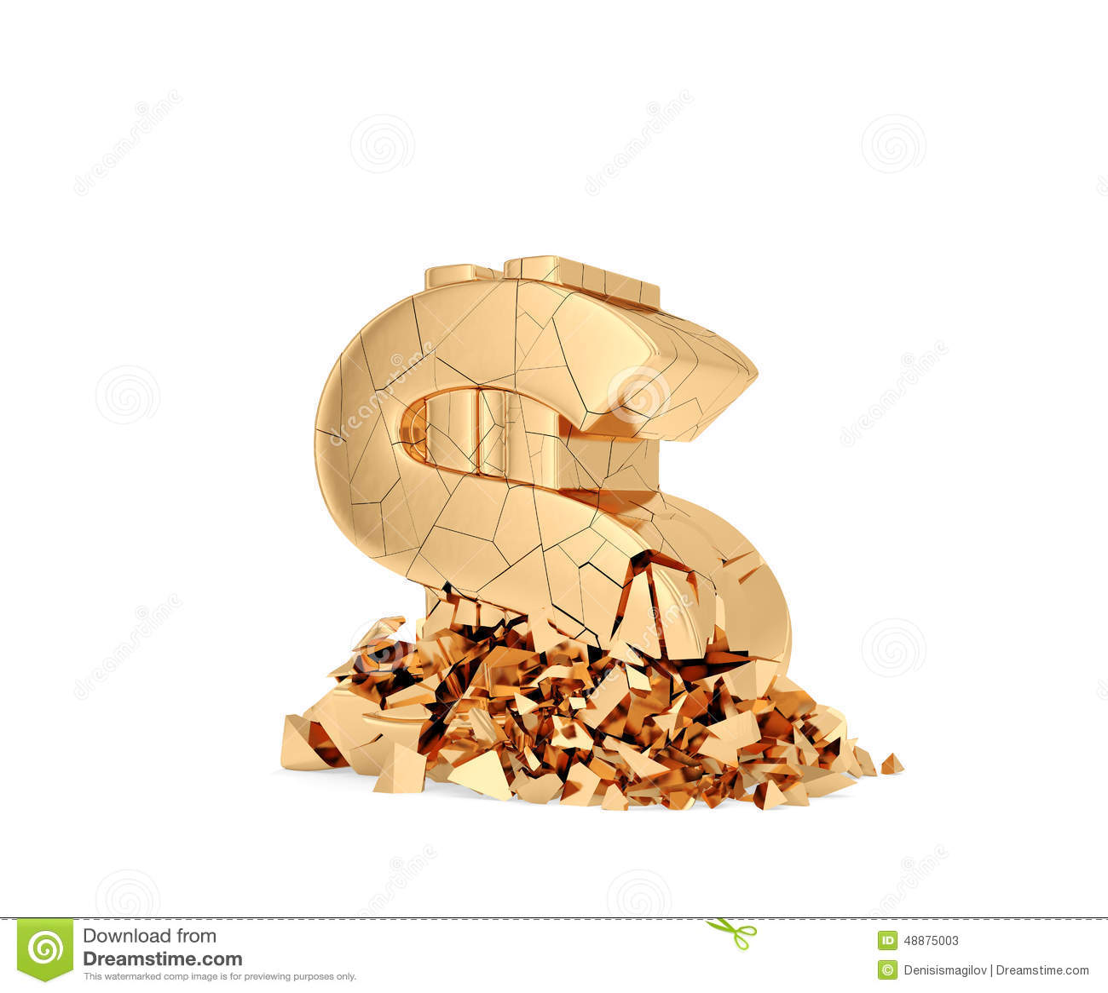 Símbolo do dólar do esmagamento