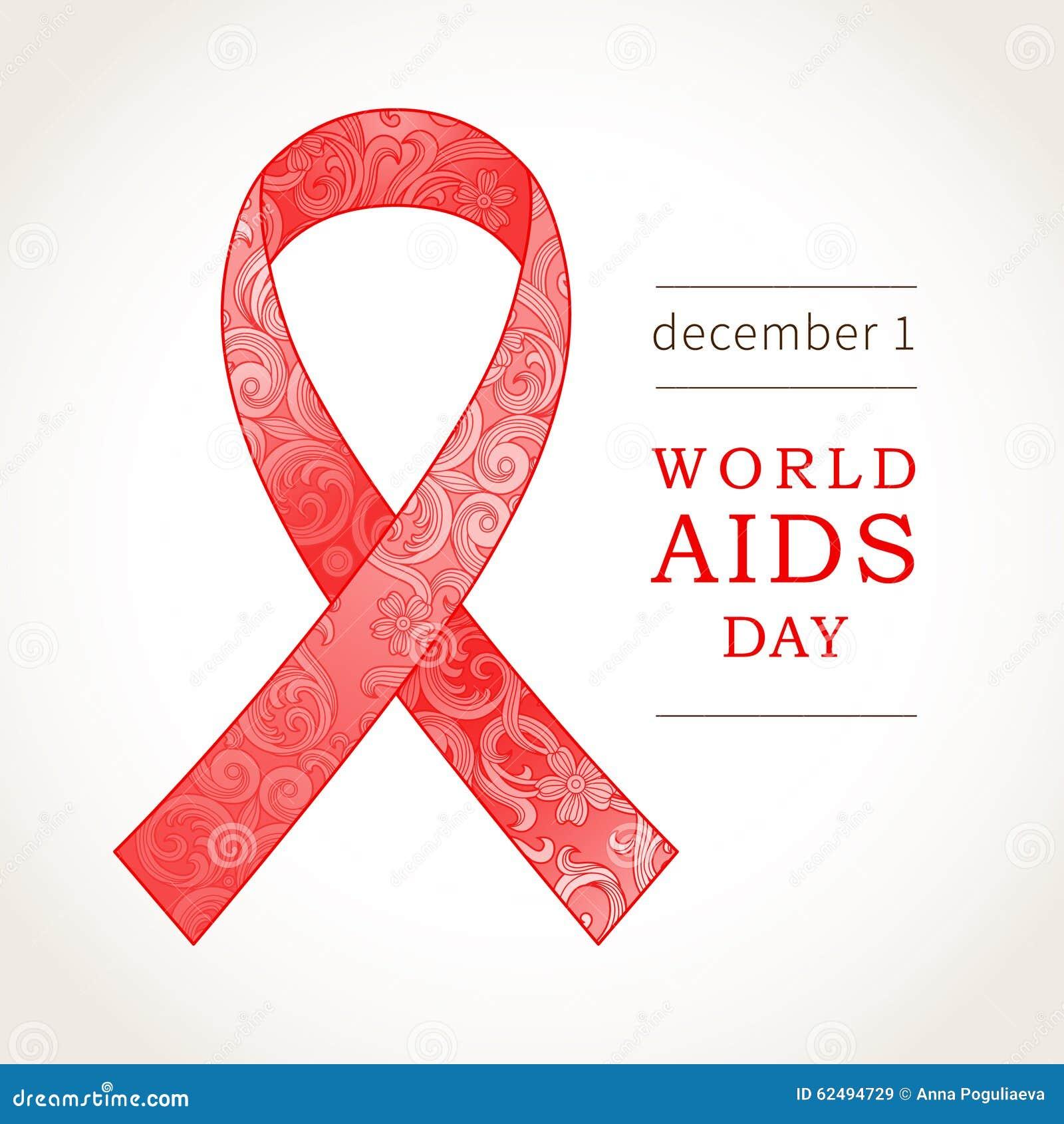 Símbolo do Dia Mundial do Sida, o 1º de dezembro, fita vermelha