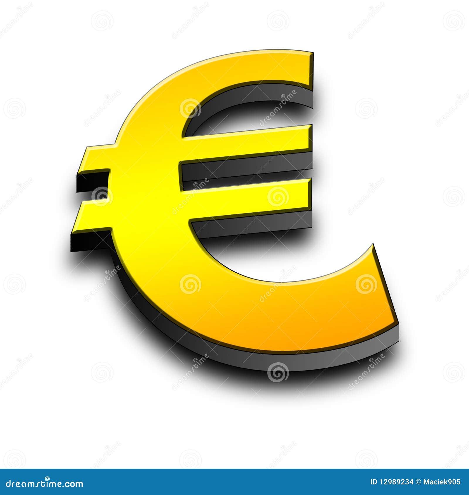 Símbolo do euro 3d