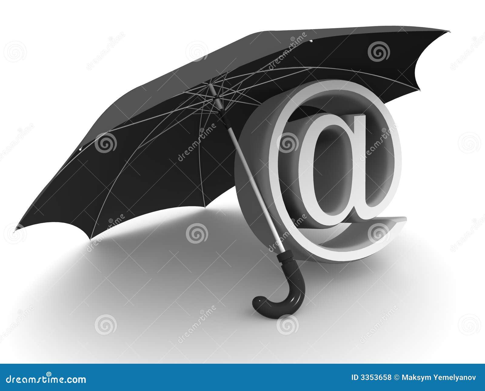 Símbolo do Internet. guarda-chuva