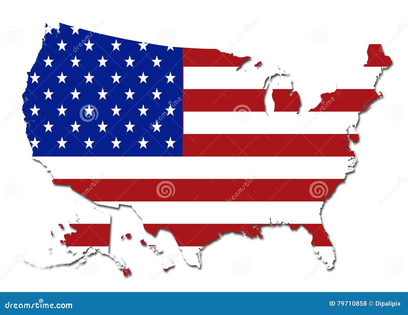 Símbolo do mapa dos EUA da bandeira dos E.U.