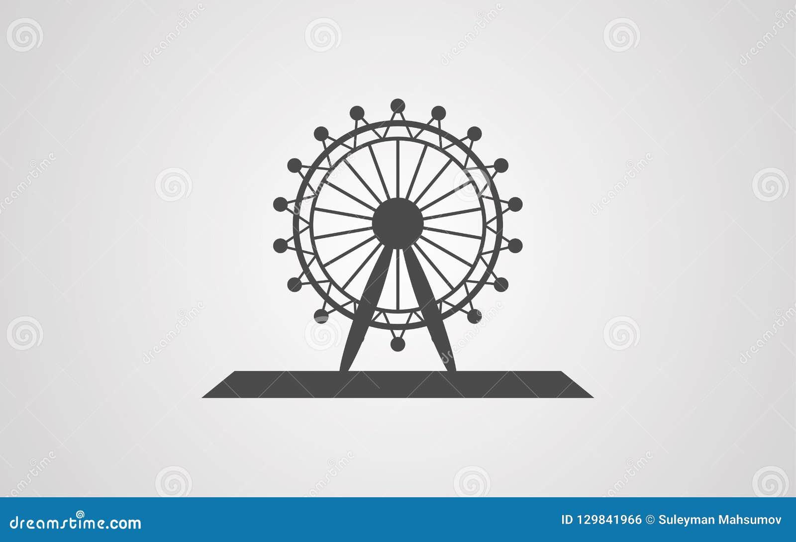 Símbolo do sinal do ícone do vetor da roda de Ferris