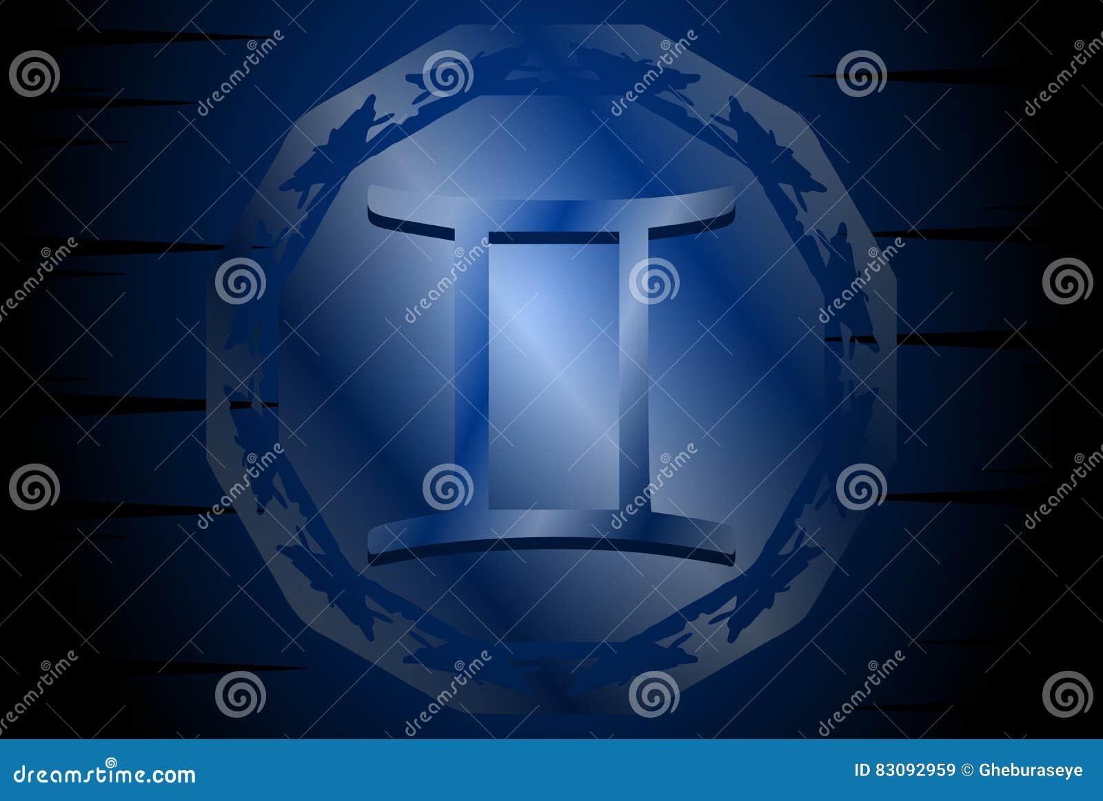 Símbolo do sinal dos gêmeos no fundo