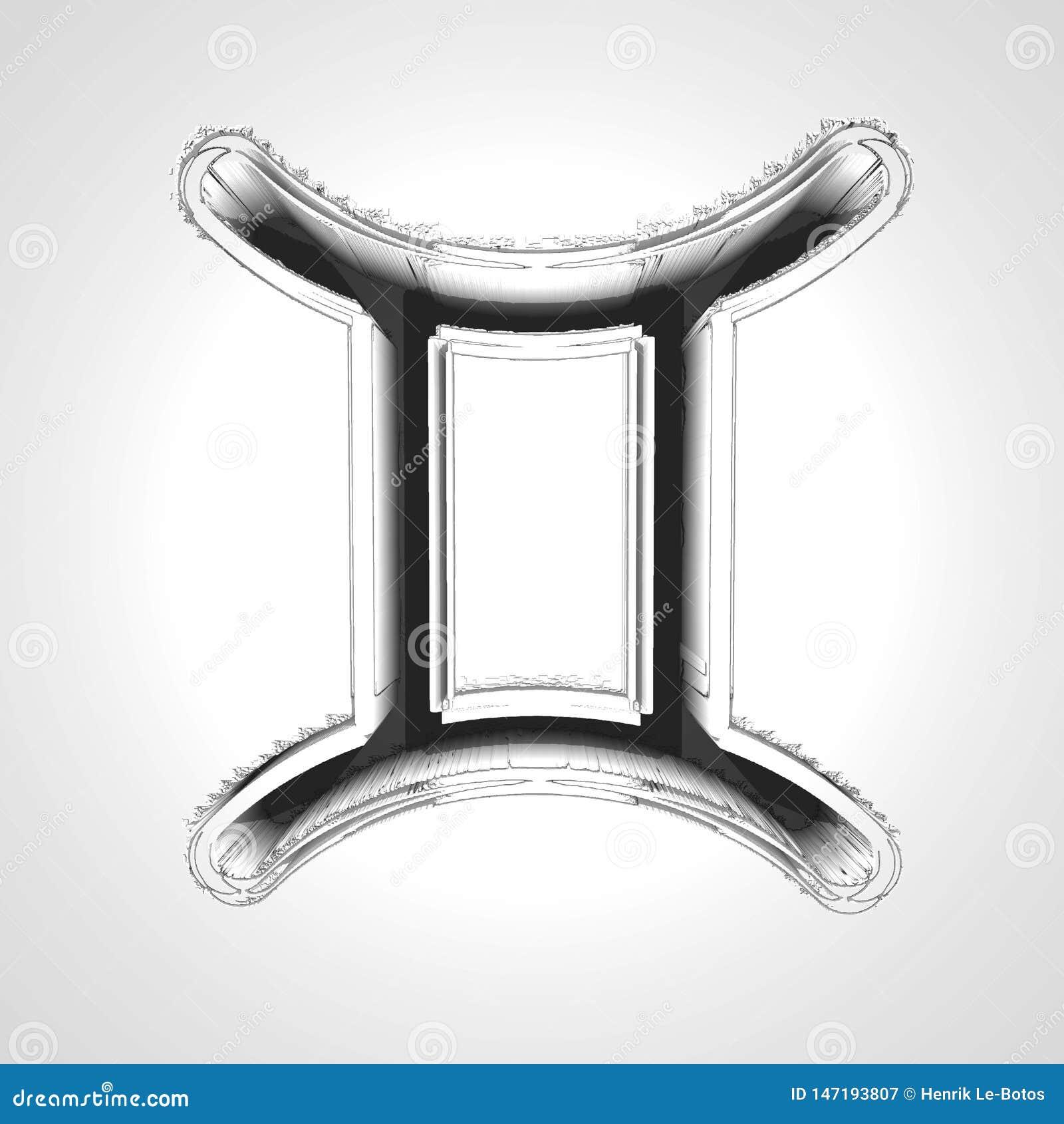 Símbolo dos Gêmeos 3d