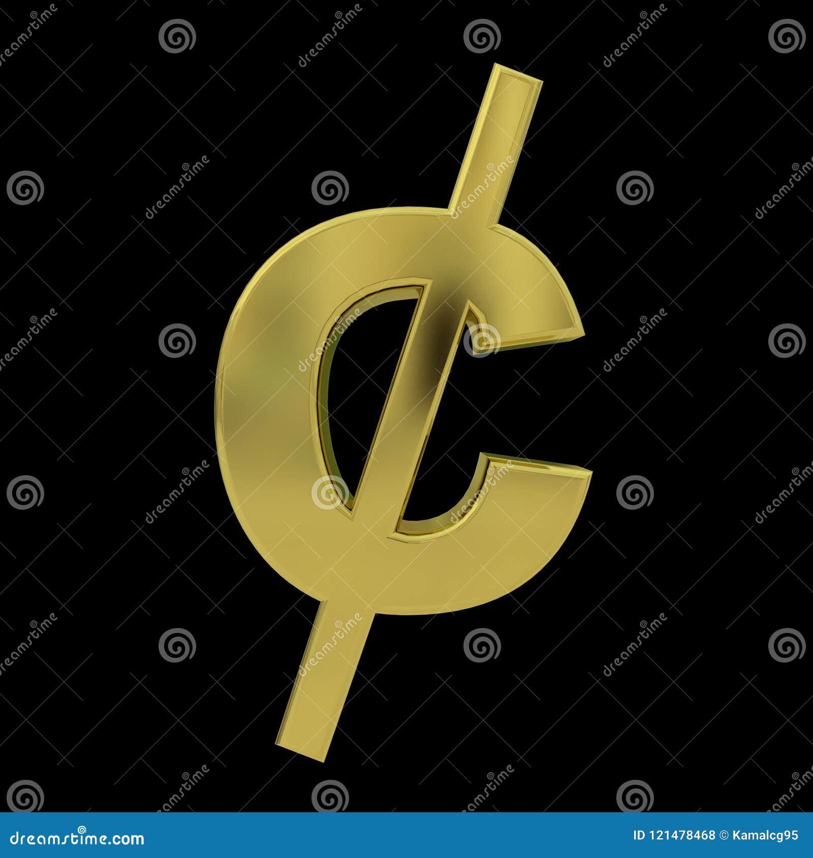 Símbolo dourado do centavo 3D isolado no preto