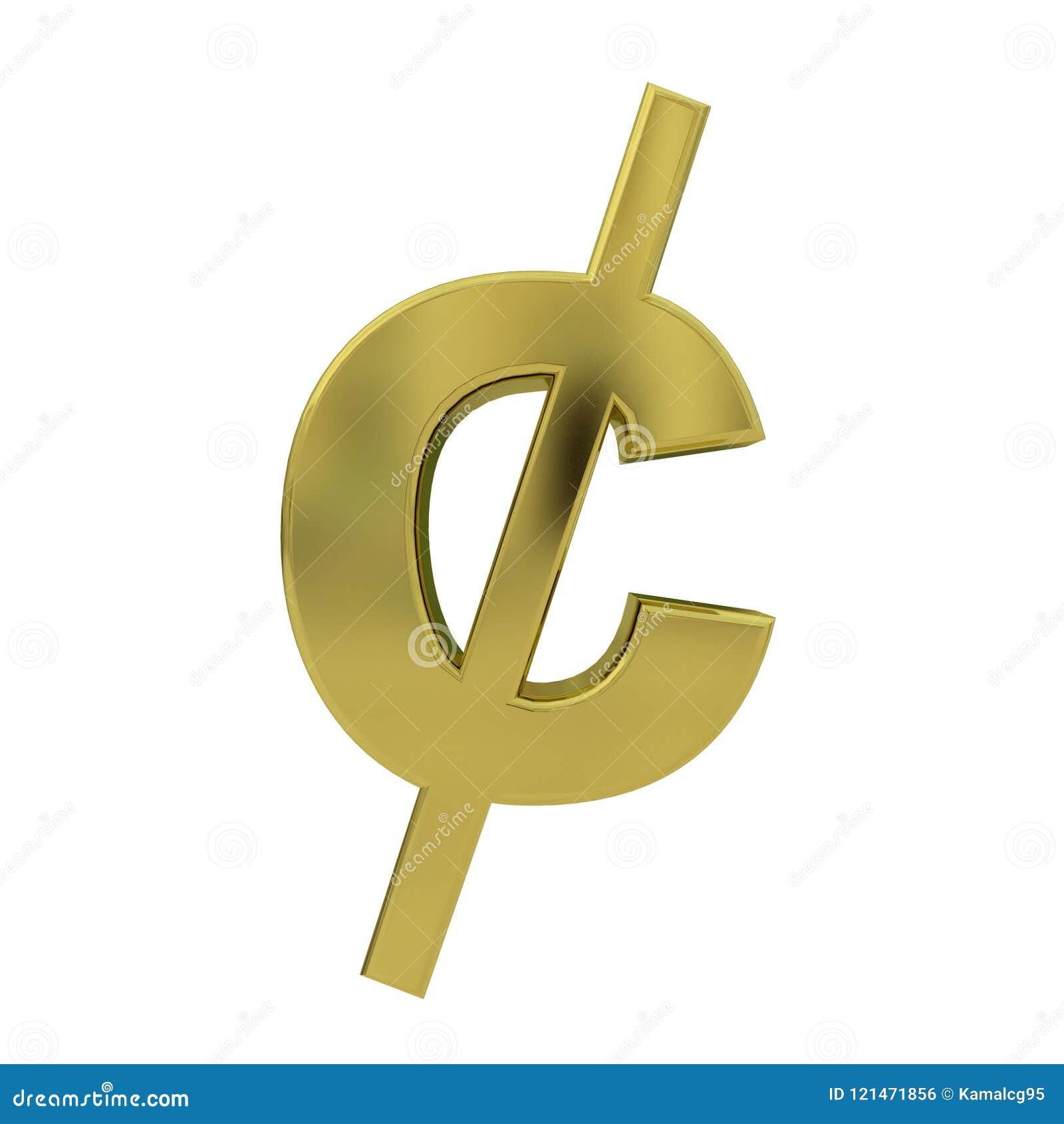 Símbolo dourado do centavo isolado no branco