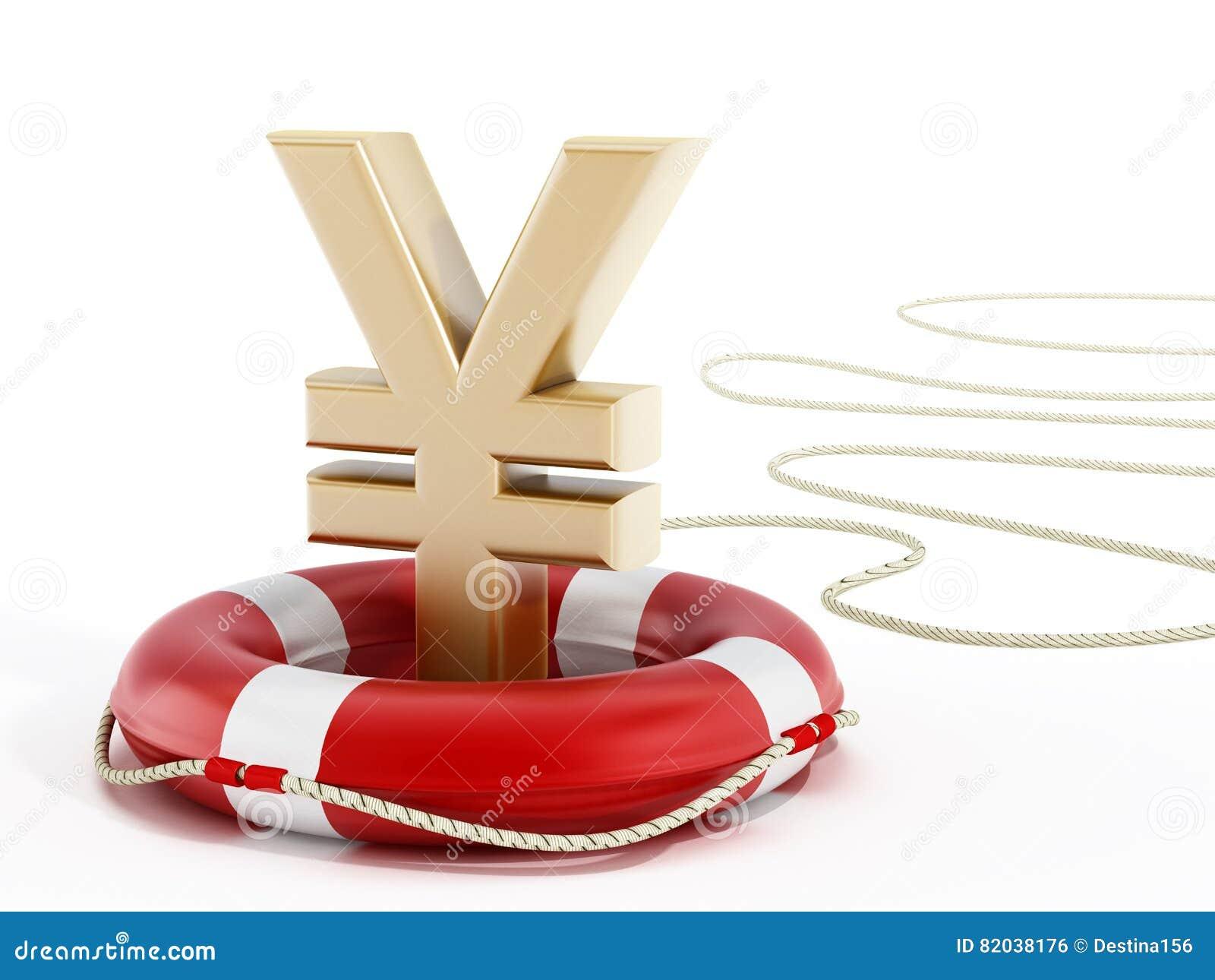 Símbolo dourado dos ienes no cinto de salvação ilustração 3D