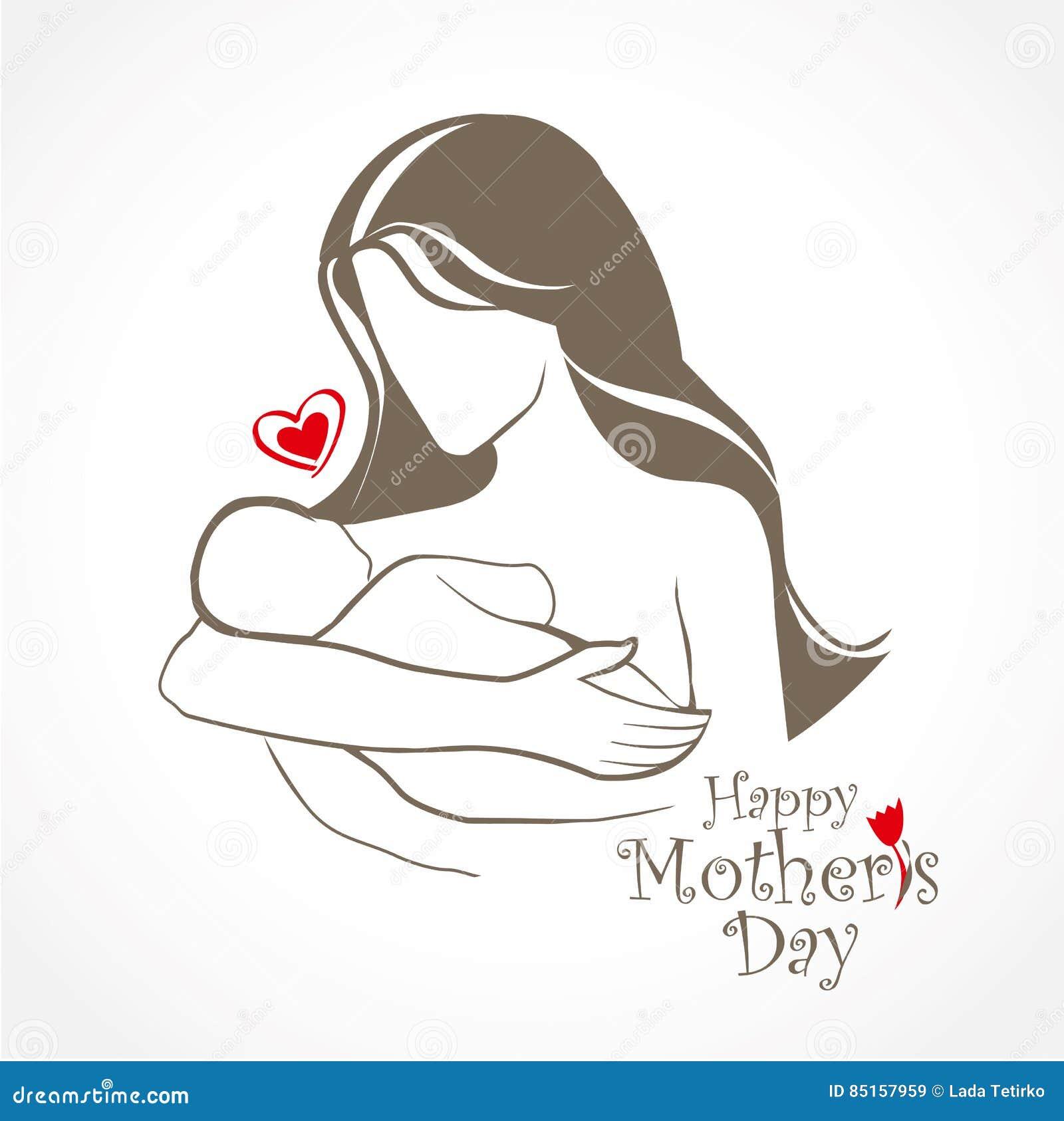Símbolo estilizado del vector de la madre y del bebé