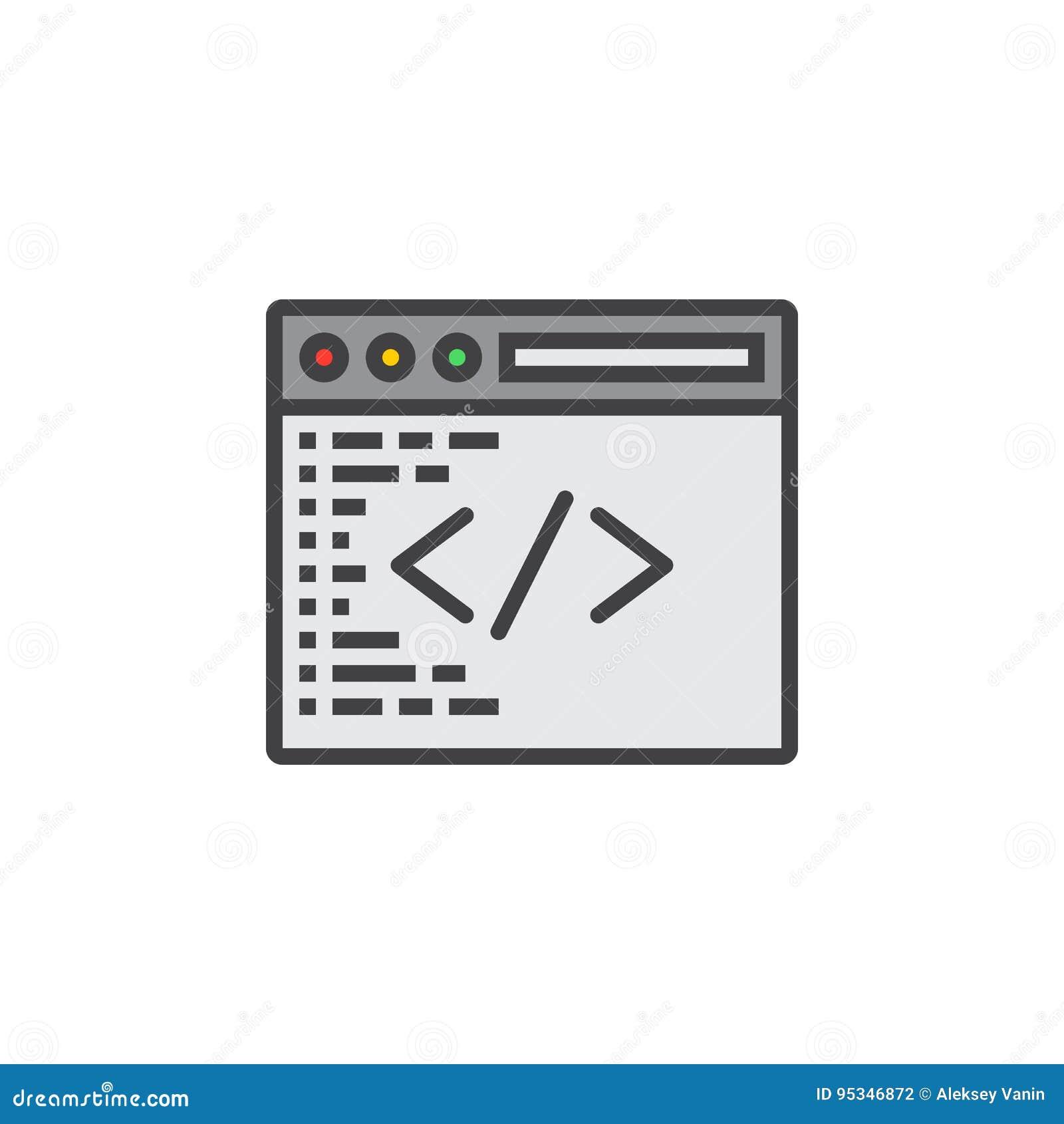 Símbolo feito sob encomenda da codificação Linha de programação ícone, esboço enchido