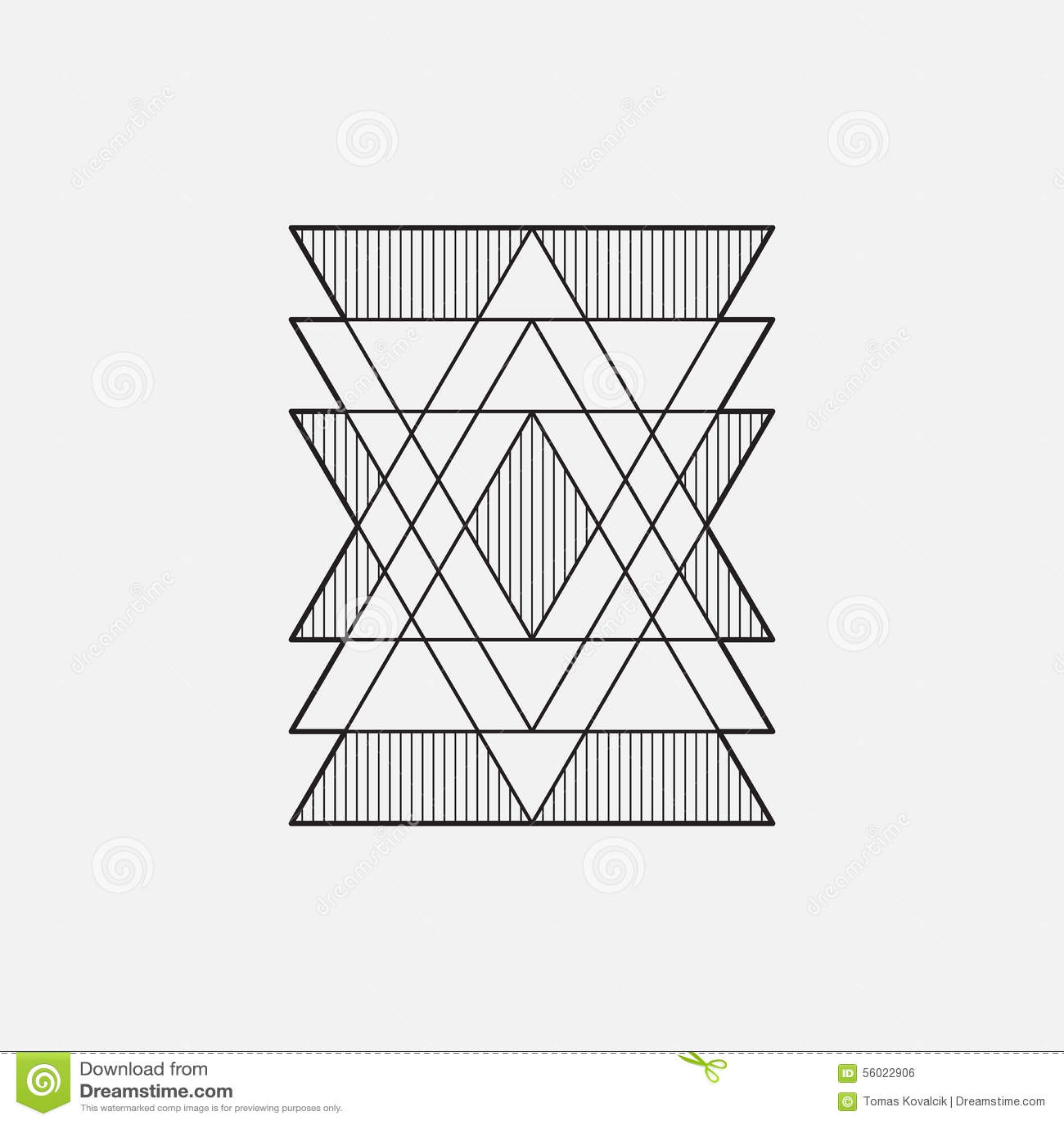 Símbolo geométrico moderno, línea diseño, vector, triángulos
