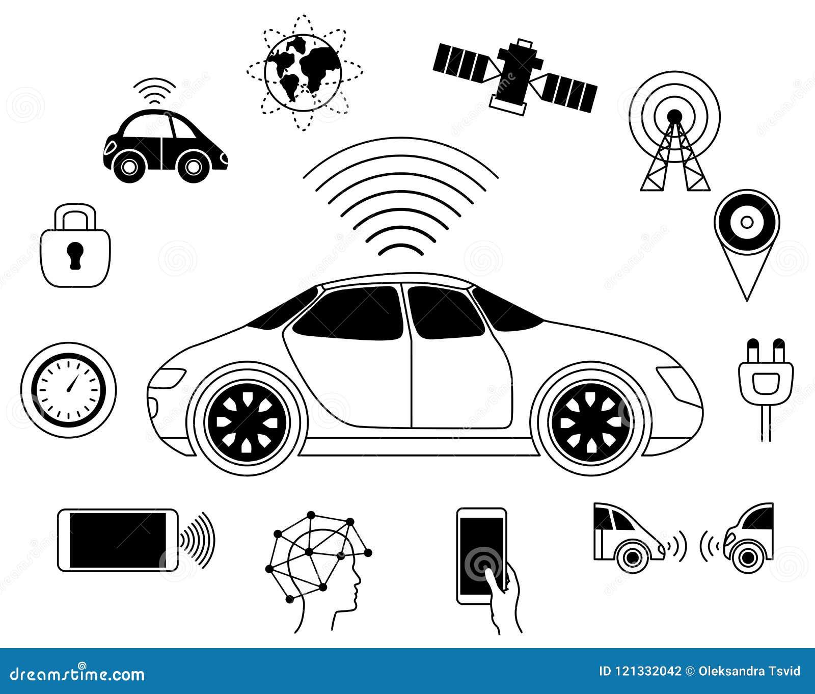 Símbolo gráfico del coche robótico Driverless, uno mismo-conduciendo el auto