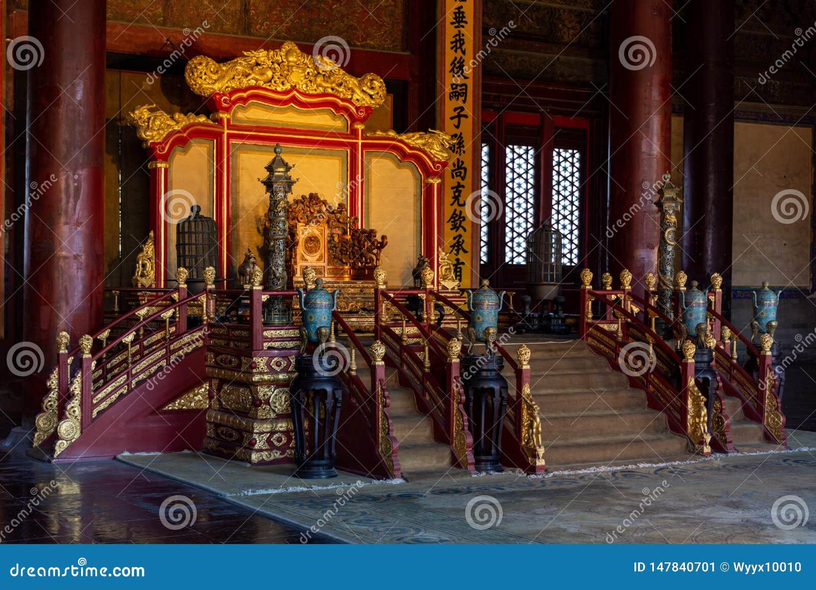 Símbolo imperial Dragon Chair del poder del palacio imperial chino