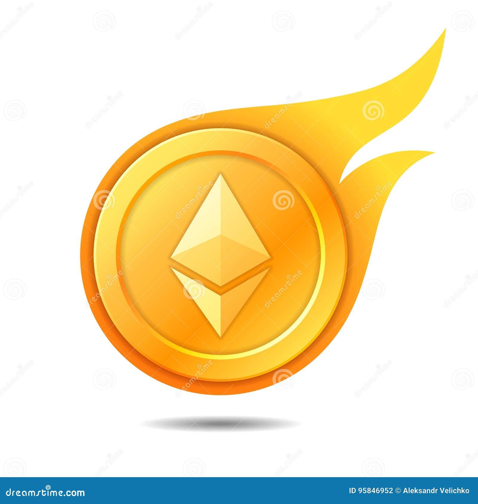 Símbolo llameante de la moneda del ethereum, icono, muestra, emblema Illustr del vector