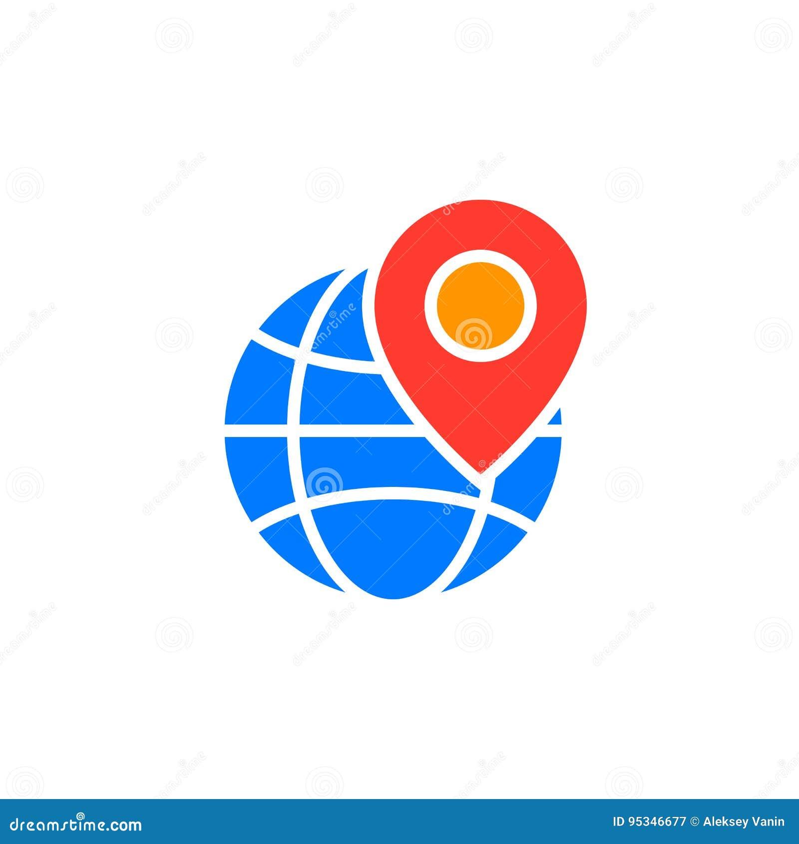 Símbolo local do seo O ícone do globo e do marcador do lugar vector, enchido