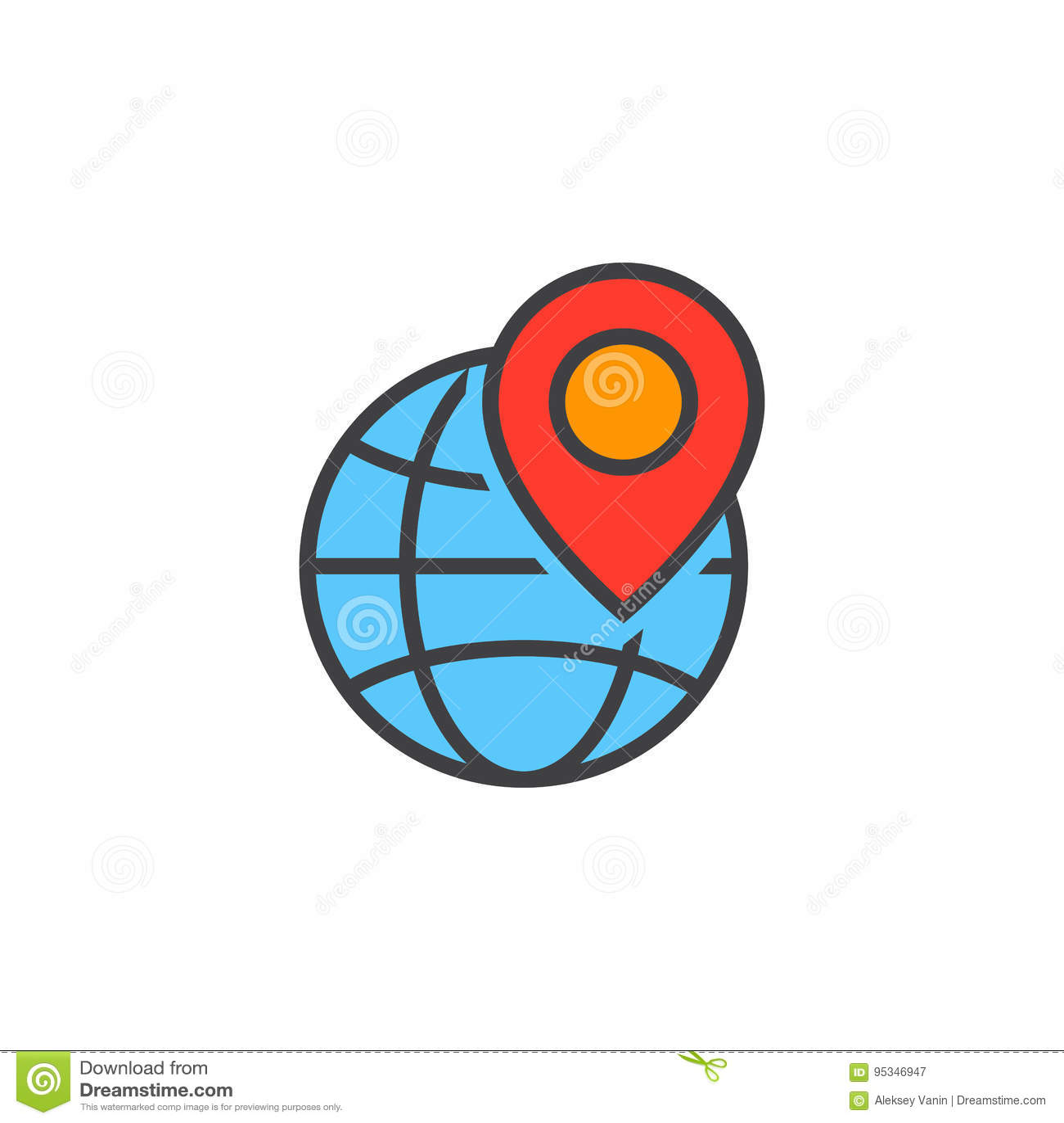 Símbolo local do seo O globo e o marcador do lugar alinham o ícone, OU enchida