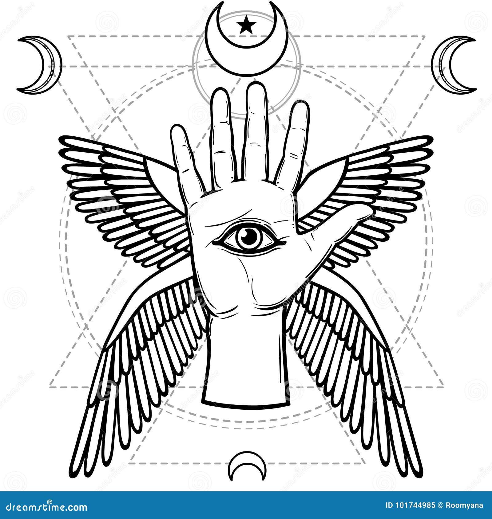 Símbolo místico: mano humana, ojo de la providencia, geometría sagrada