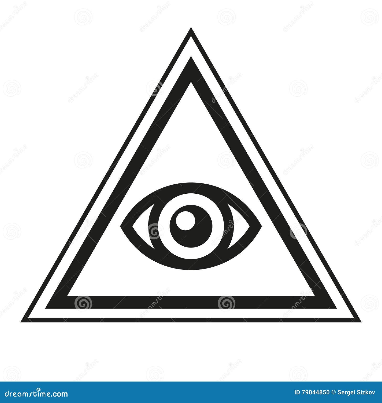 36c67df4046b5 Símbolo masónico Todo el ojo que ve dentro del icono del triángulo de la pirámide  Ilustración del vector