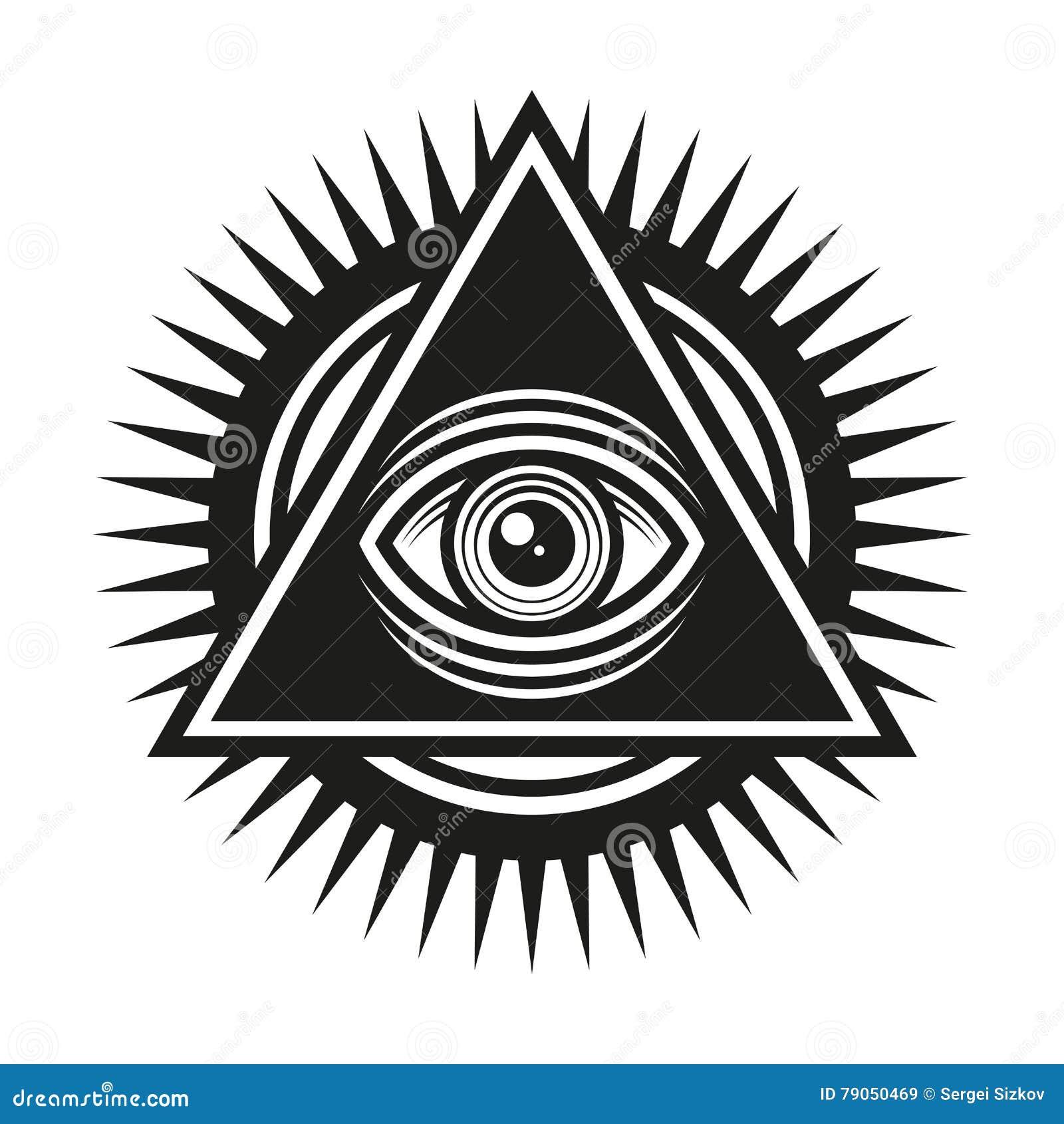 029ee45ba3513 Símbolo masónico Todo el ojo que ve dentro del icono del triángulo de la pirámide  Vector