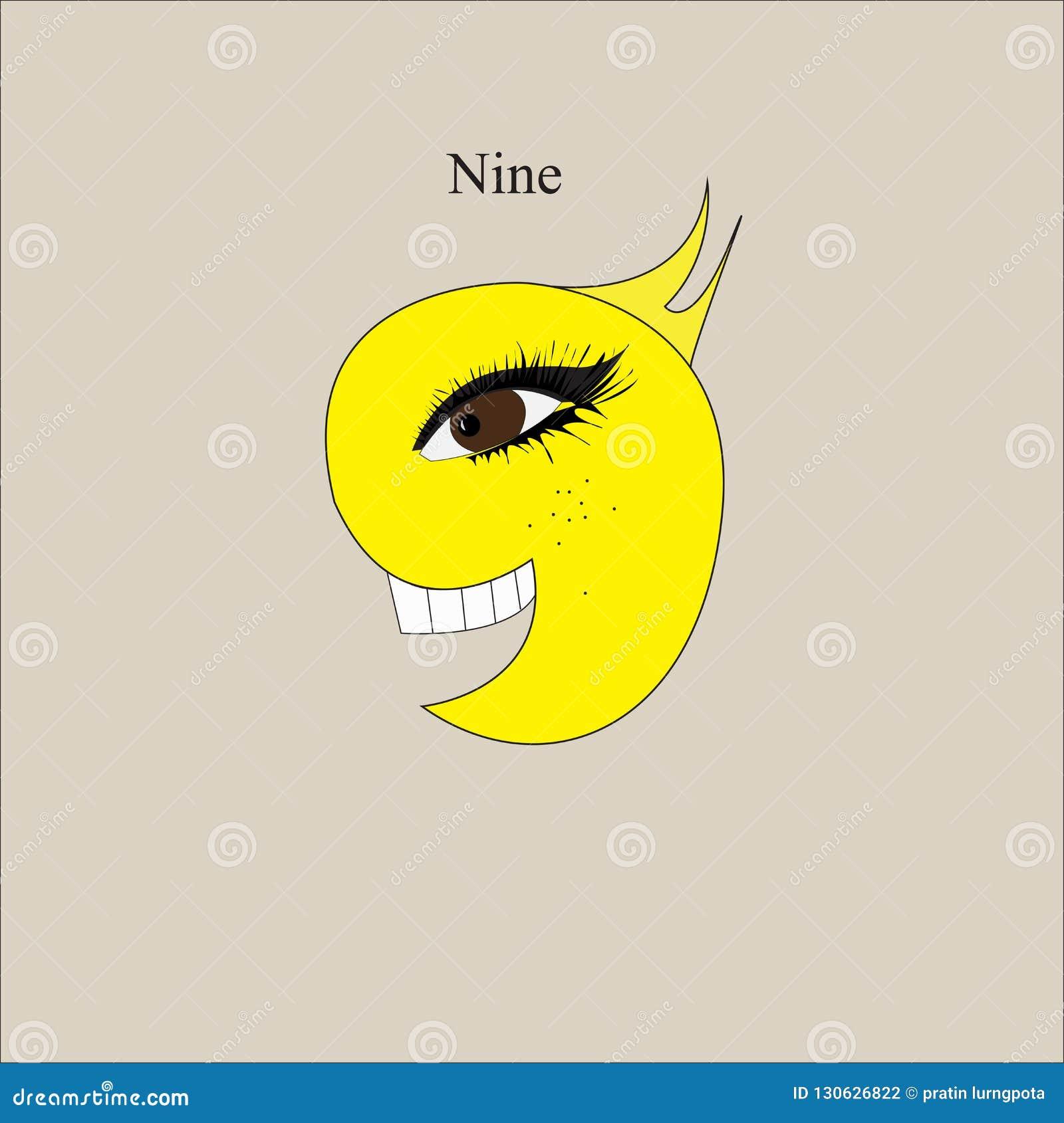 Símbolo número nueve de la historieta